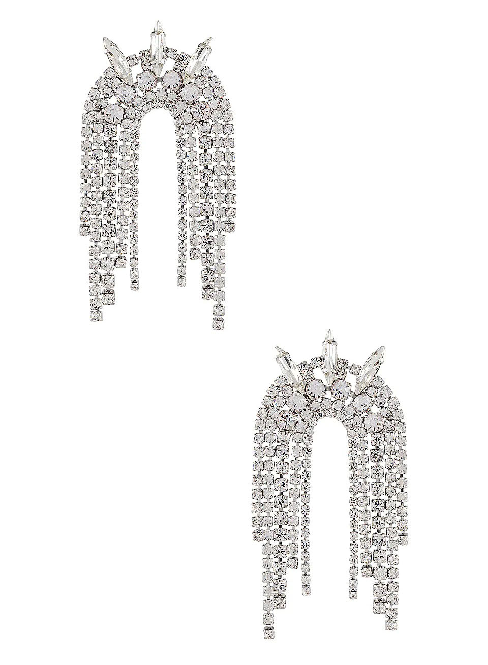 crystal dotted arched silver earrings