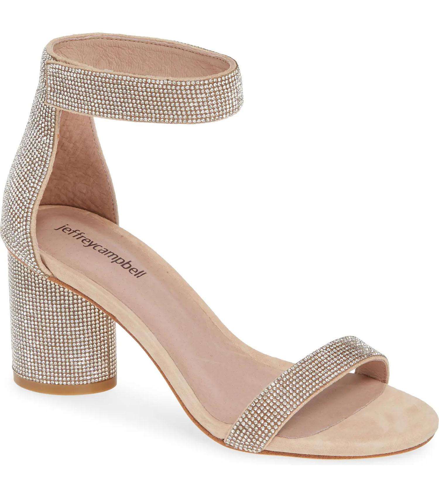 crystal embellished Jeffrey Campbell chunky neutral tone Nordstrom Rack heel wedding shoes