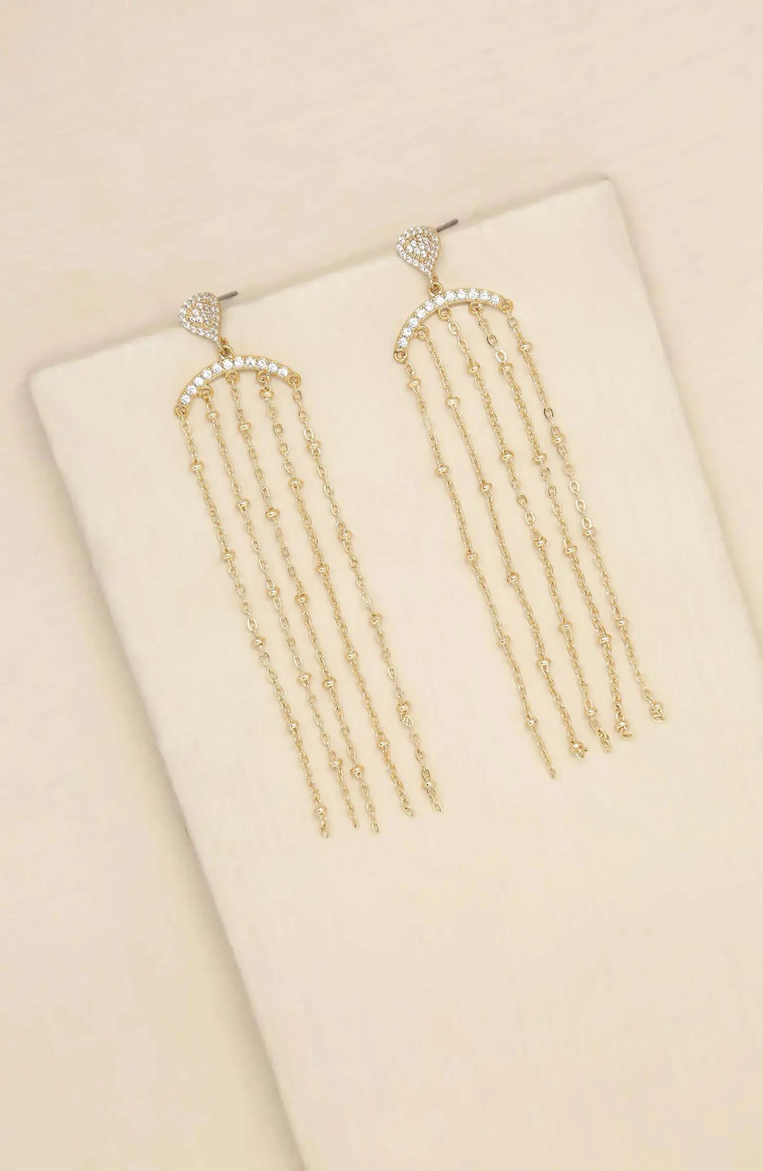 dangling gold and cubic zirconia chain long wedding earrings