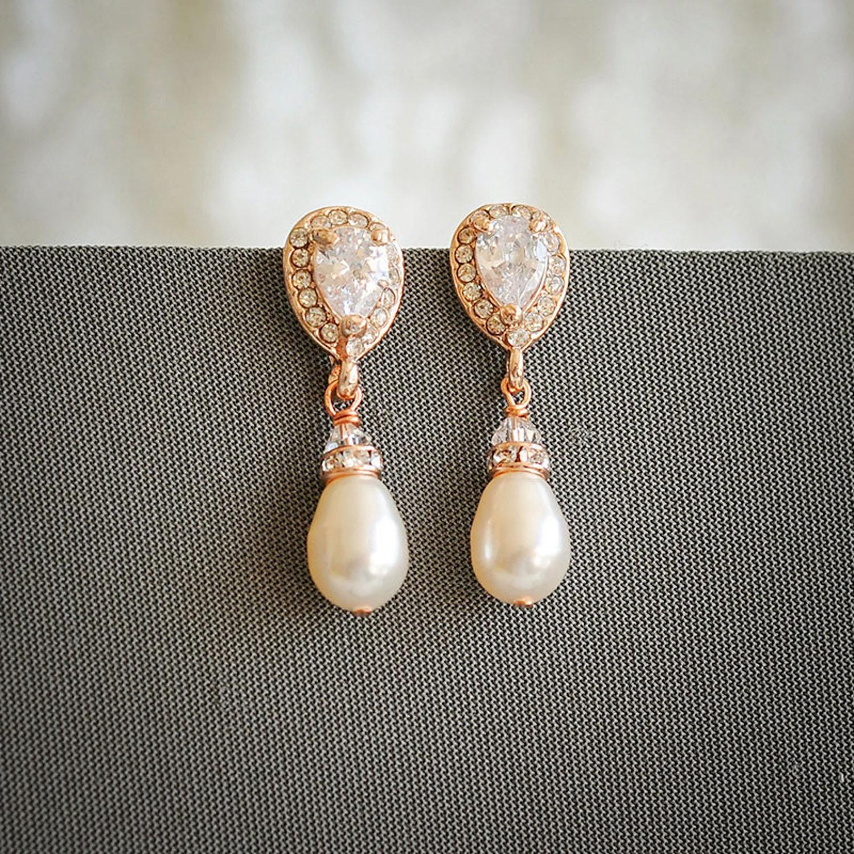 rose gold dangling teardrop pearl earrings