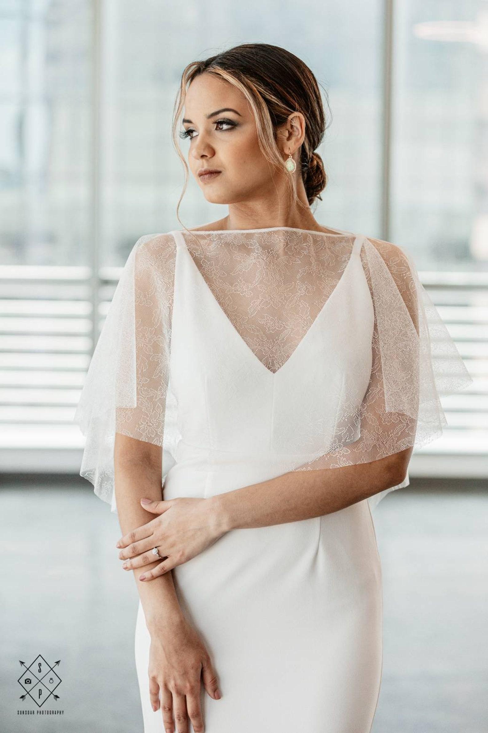 delicate lace wedding cape topper