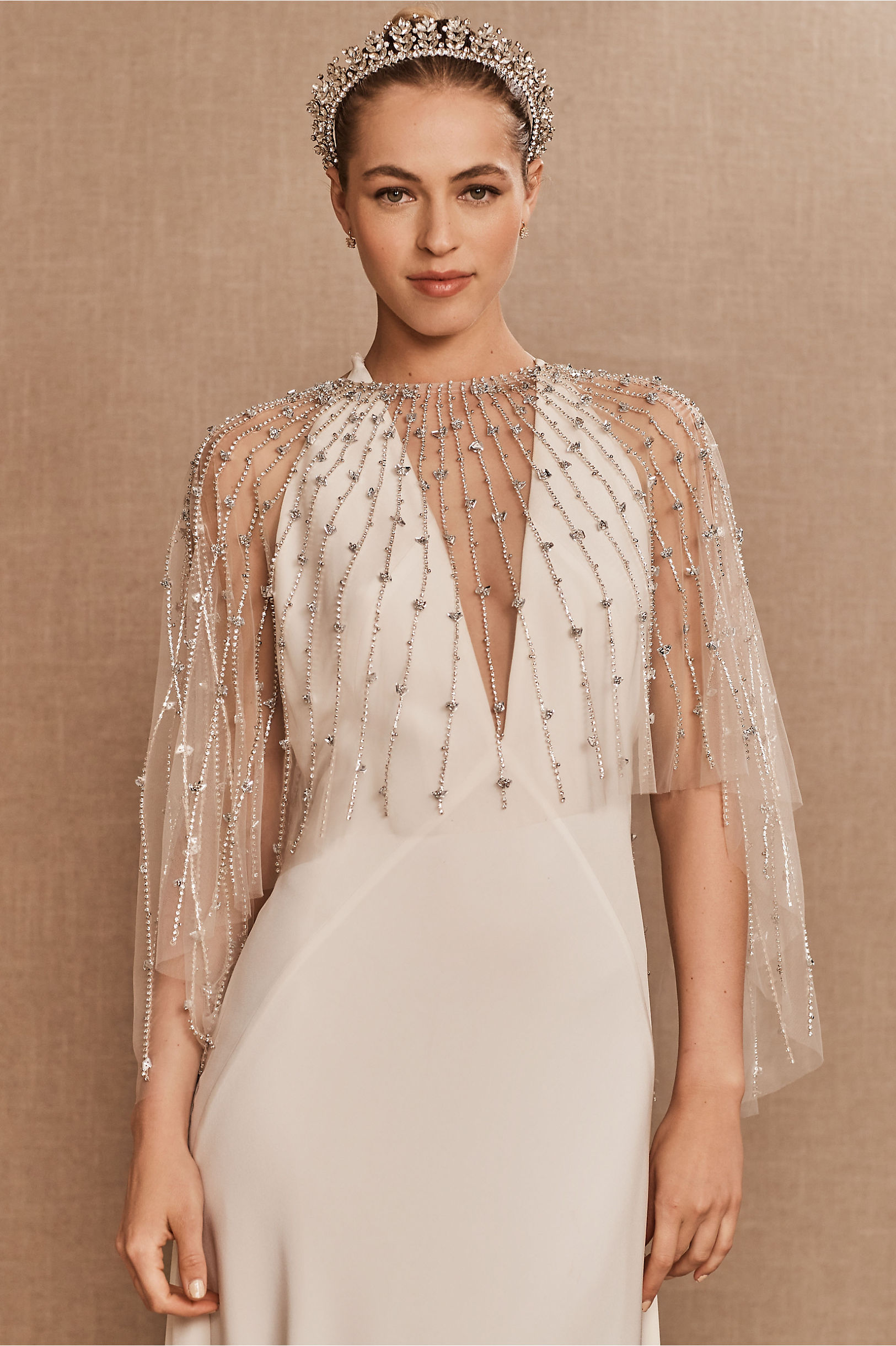 embellished cape with jewels capelet
