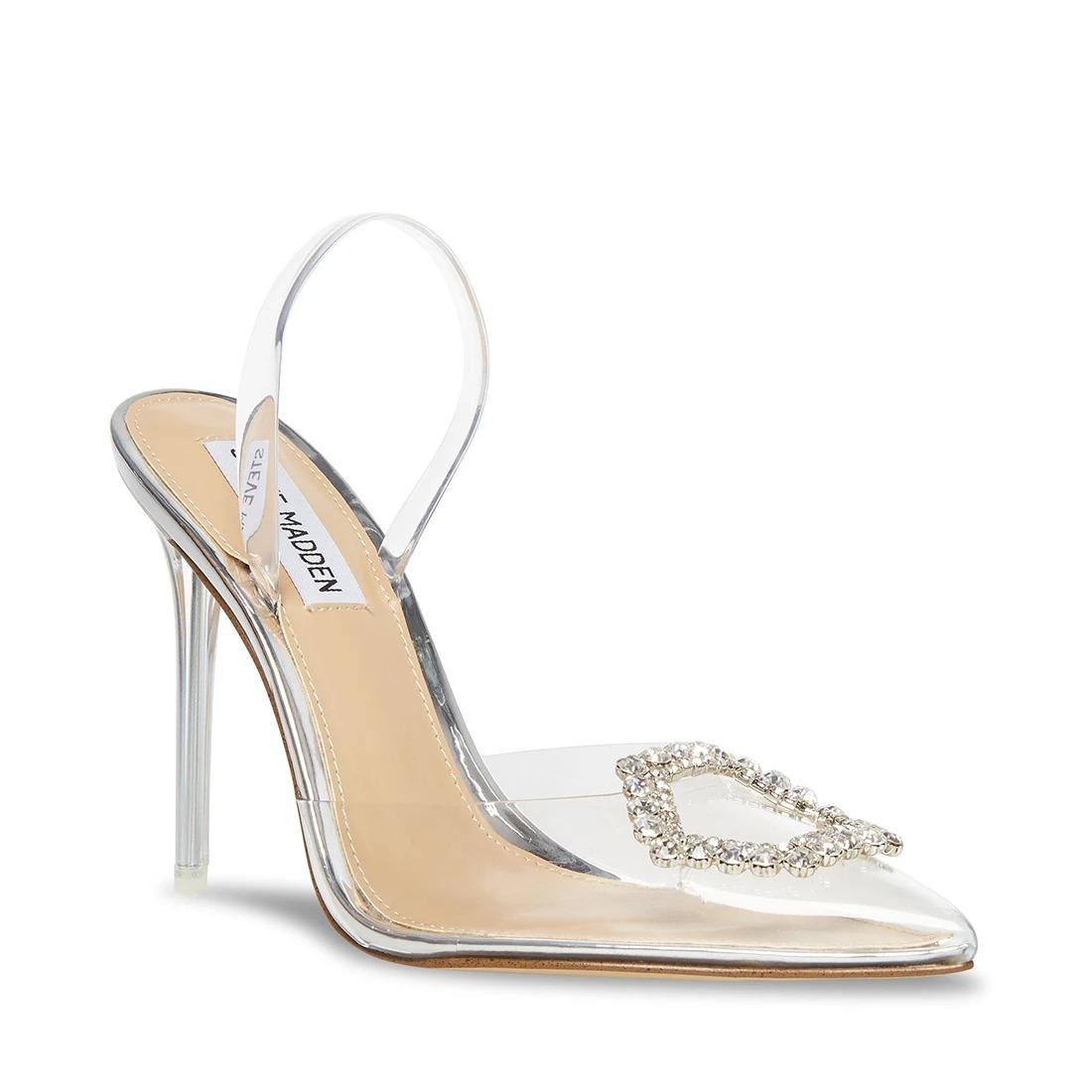 embellished clear pointed toe Steve Madden wedding heels