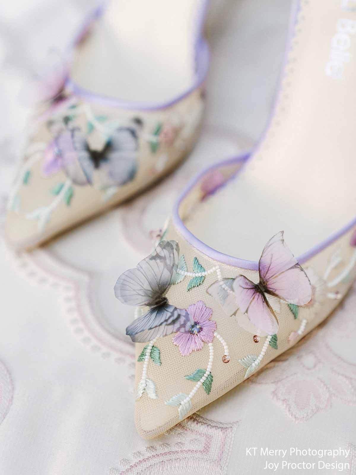 embroidered lavender butterfly Bella Belle wedding heels