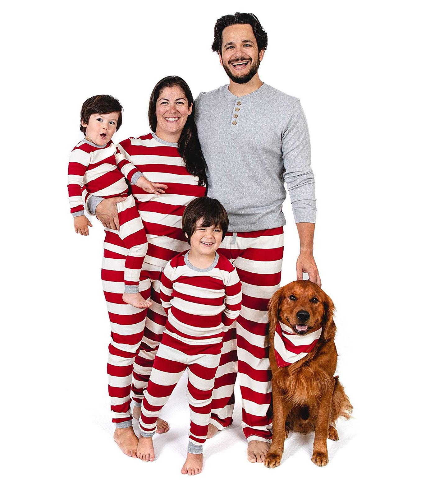 family christmas pajamas red thick stripes