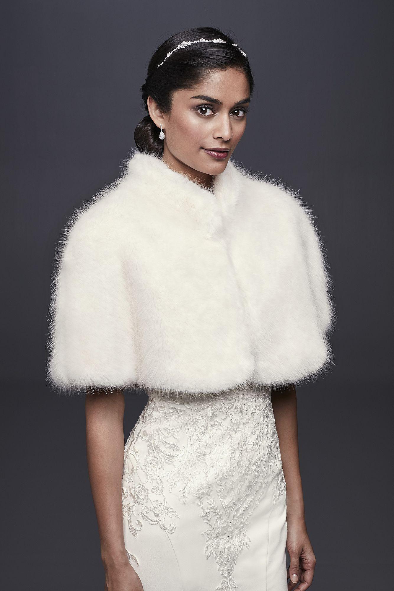faux fur winter bridal cape