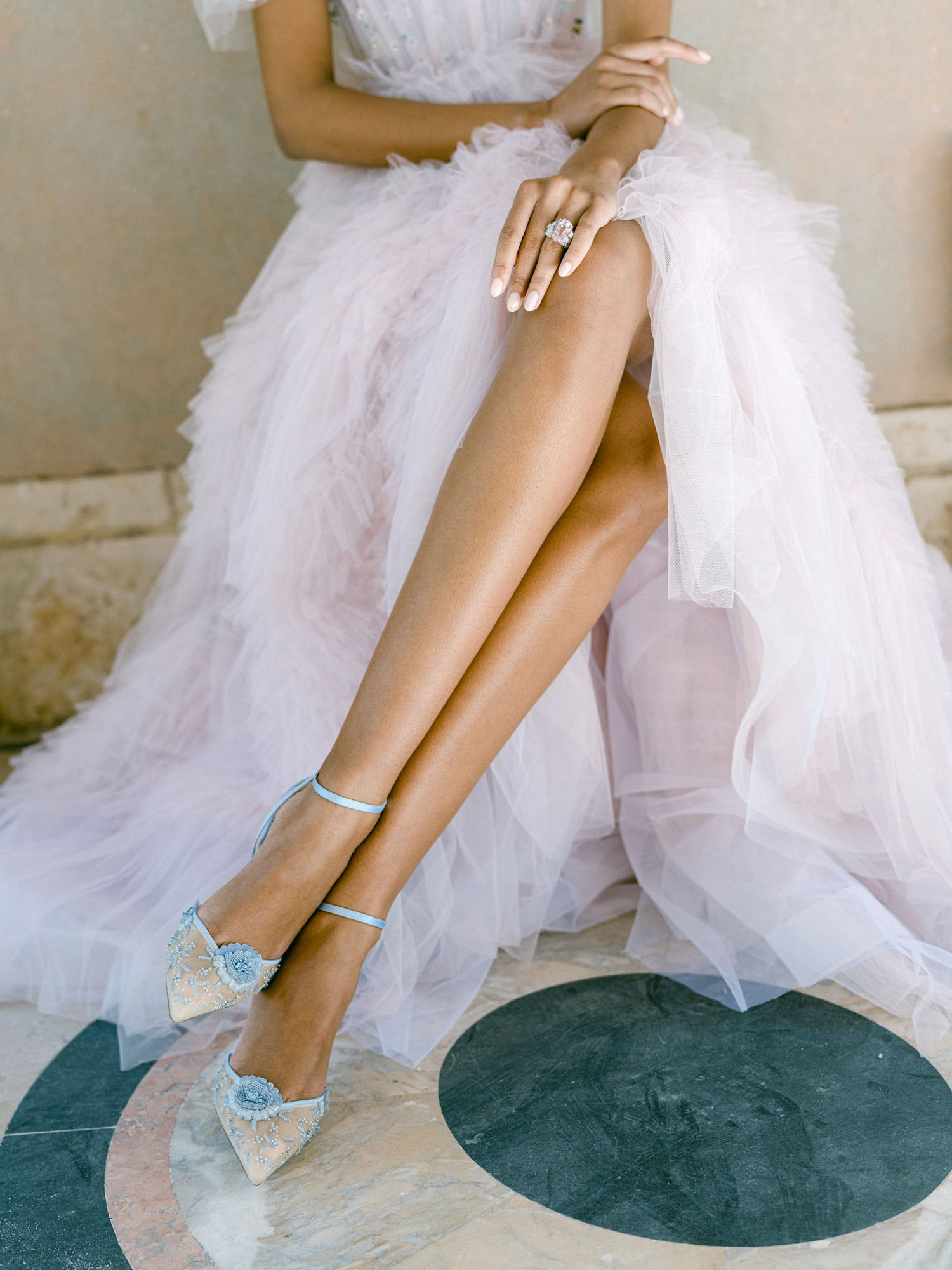 floral lace blue wedding heels from Bella Belle shoes