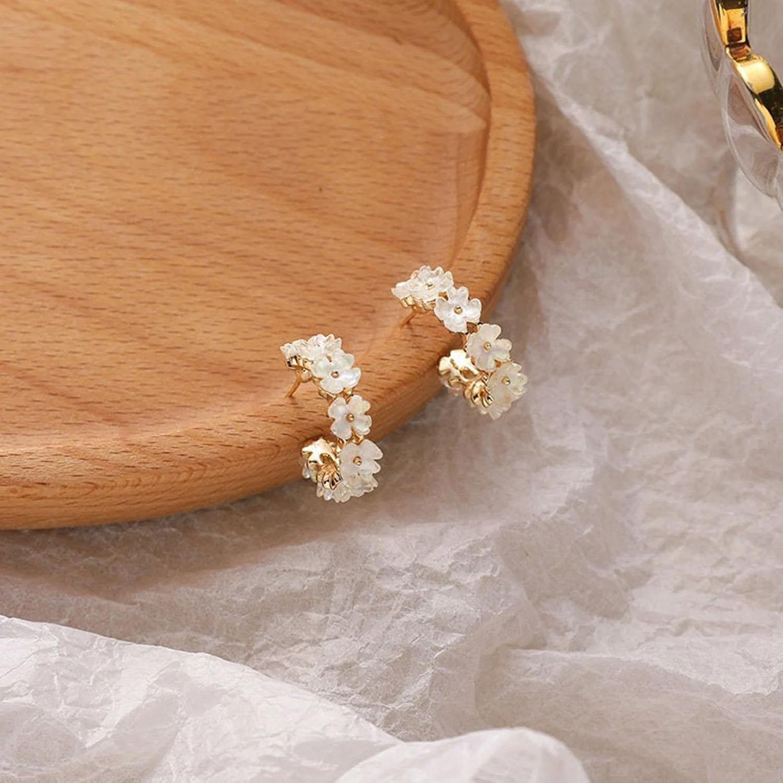 boho flower wreath gold hoop earrings