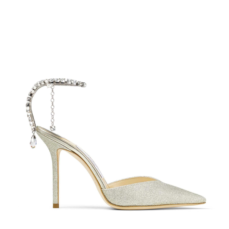 glittered crystal chain Jimmy Choo heel wedding shoes