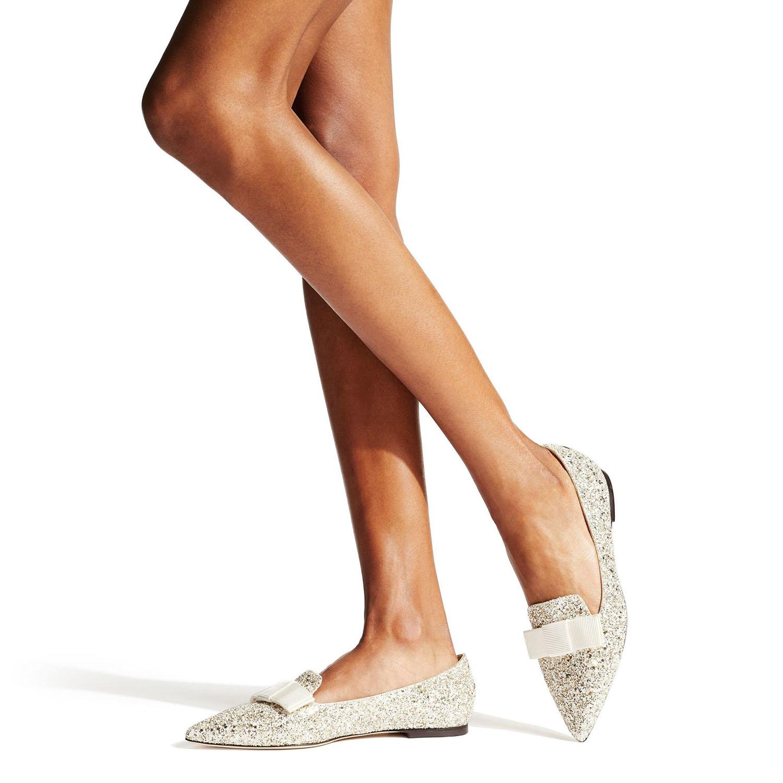 glittered point toe ballerina Jimmy Choo flat wedding shoes