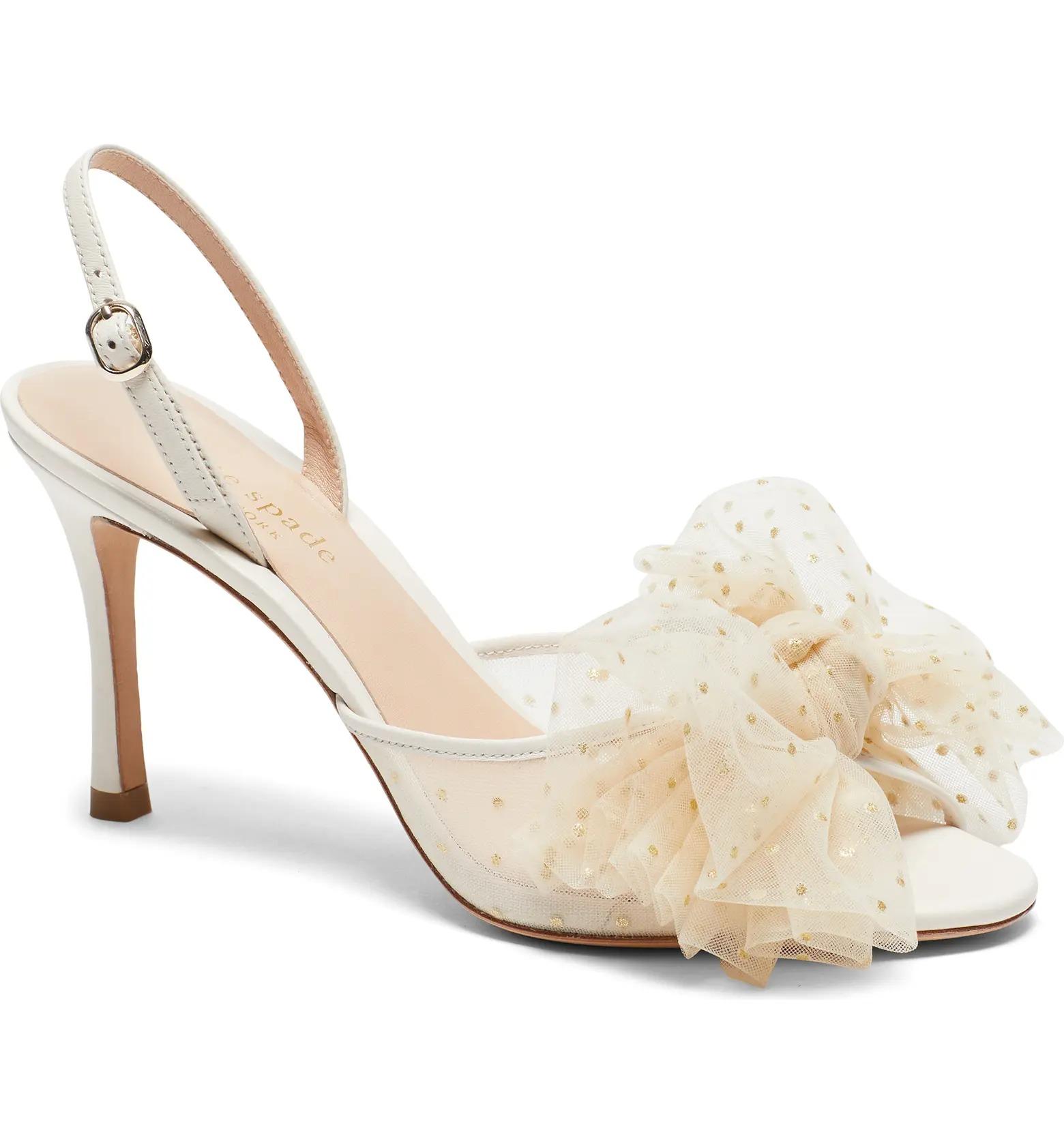 gold dotted bowtie slingback Kate Spade sandal heel wedding shoes at Nordstrom