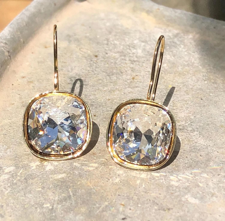 gold plated cushion cut bezel set Swarovski earrings