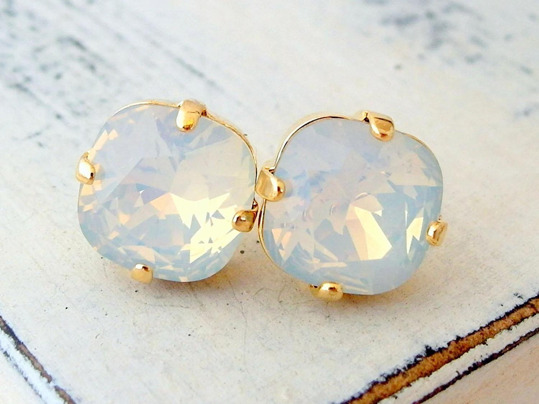 gold post white opal Swarovski stud earrings