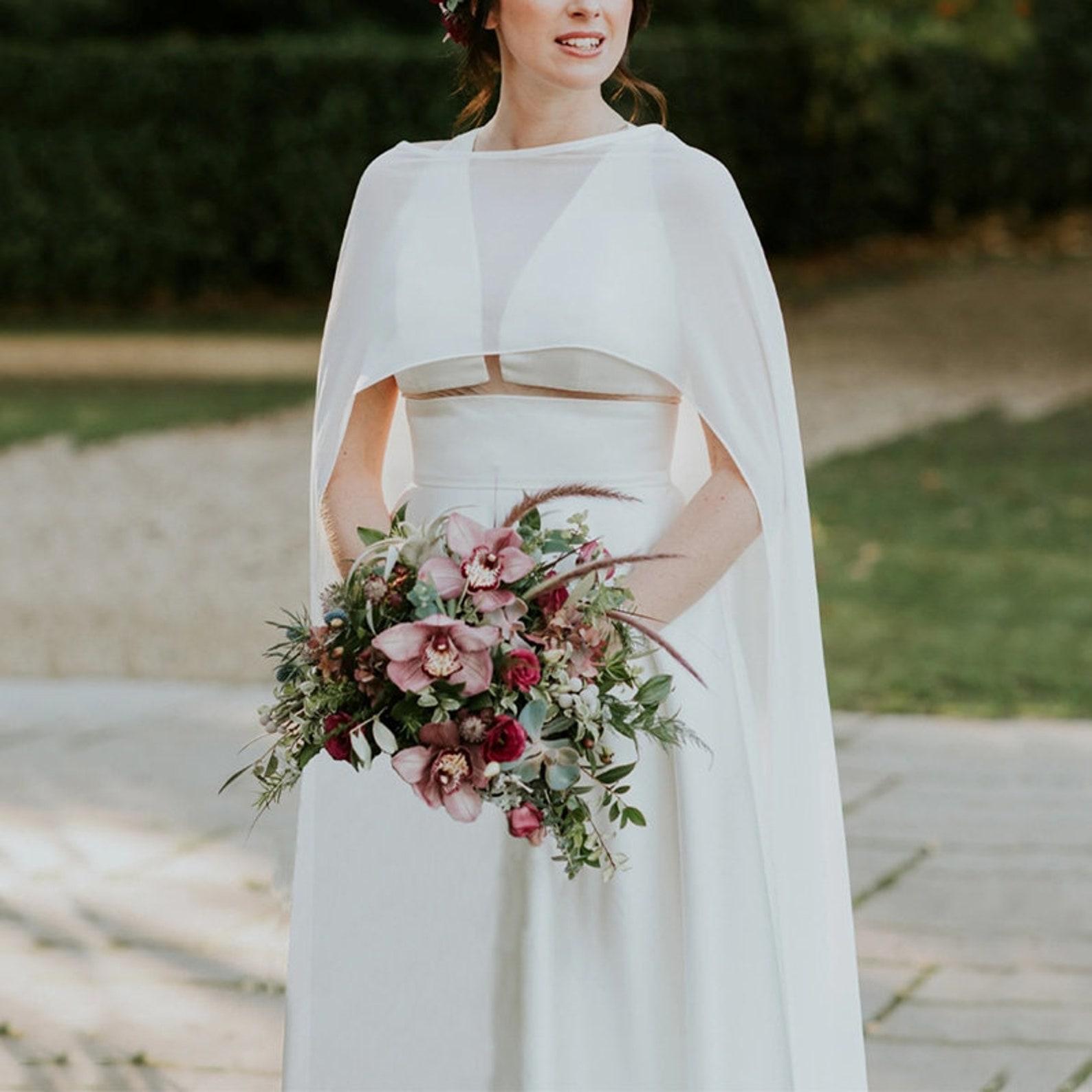 hi-low chiffon wedding cape