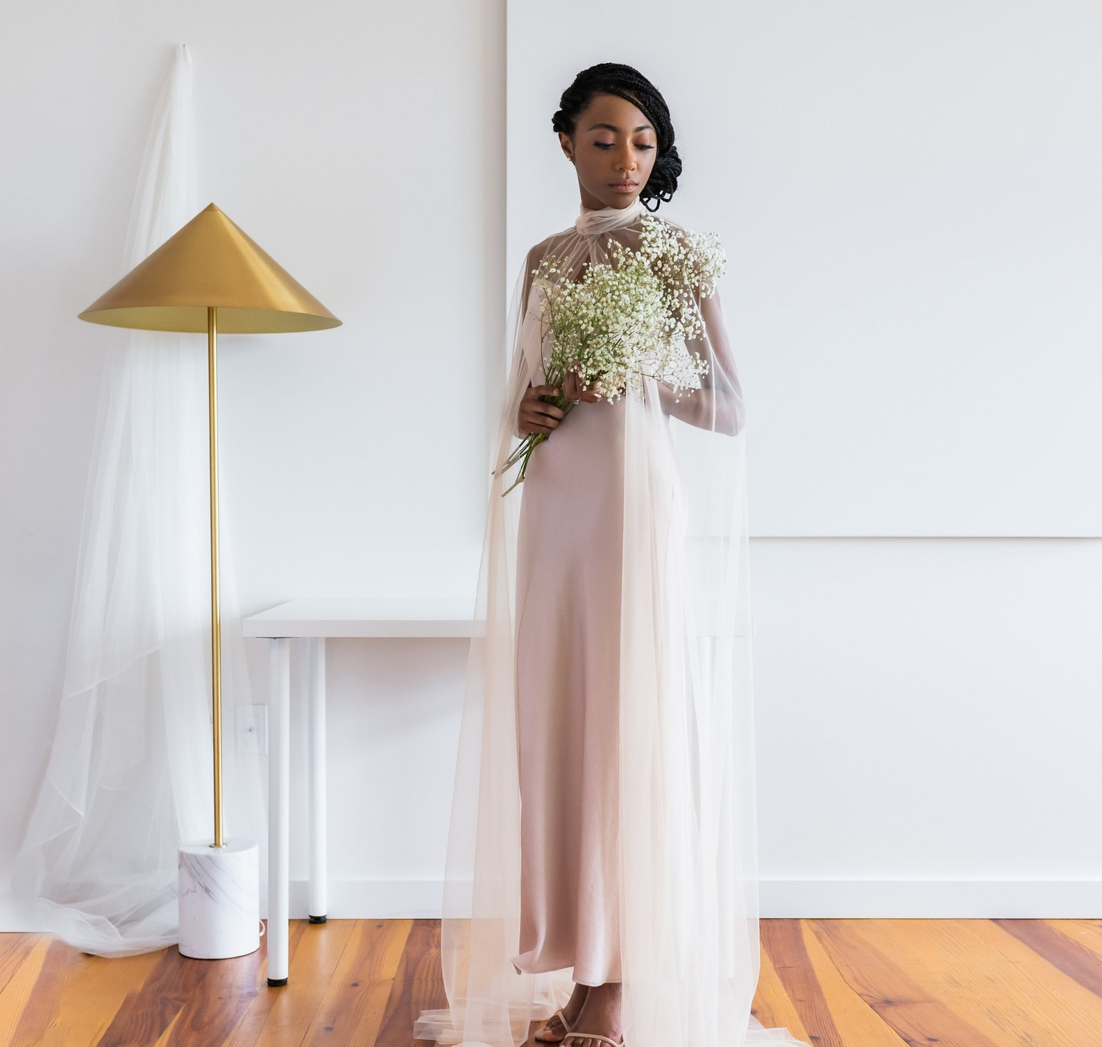 high-neck blush bridal cape