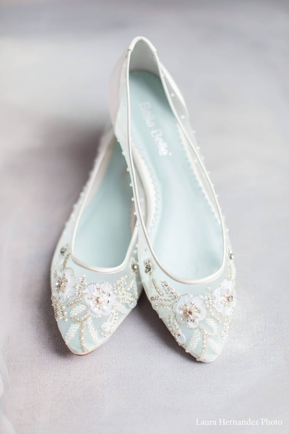 ivory and baby blue embroidered floral flats Bella Belle wedding shoes