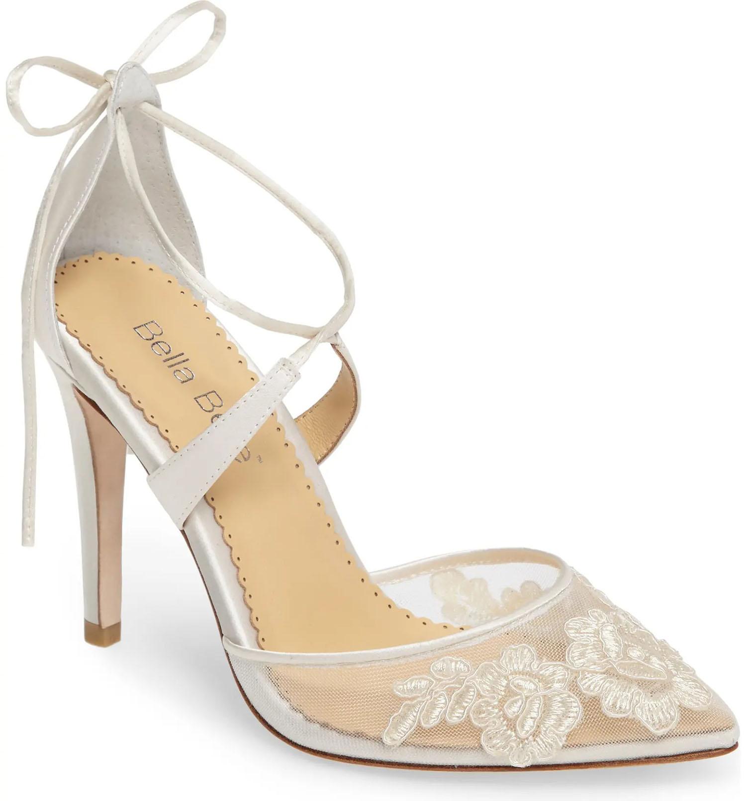 ivory floral illusion lace Bella Belle wedding heels at Nordstrom
