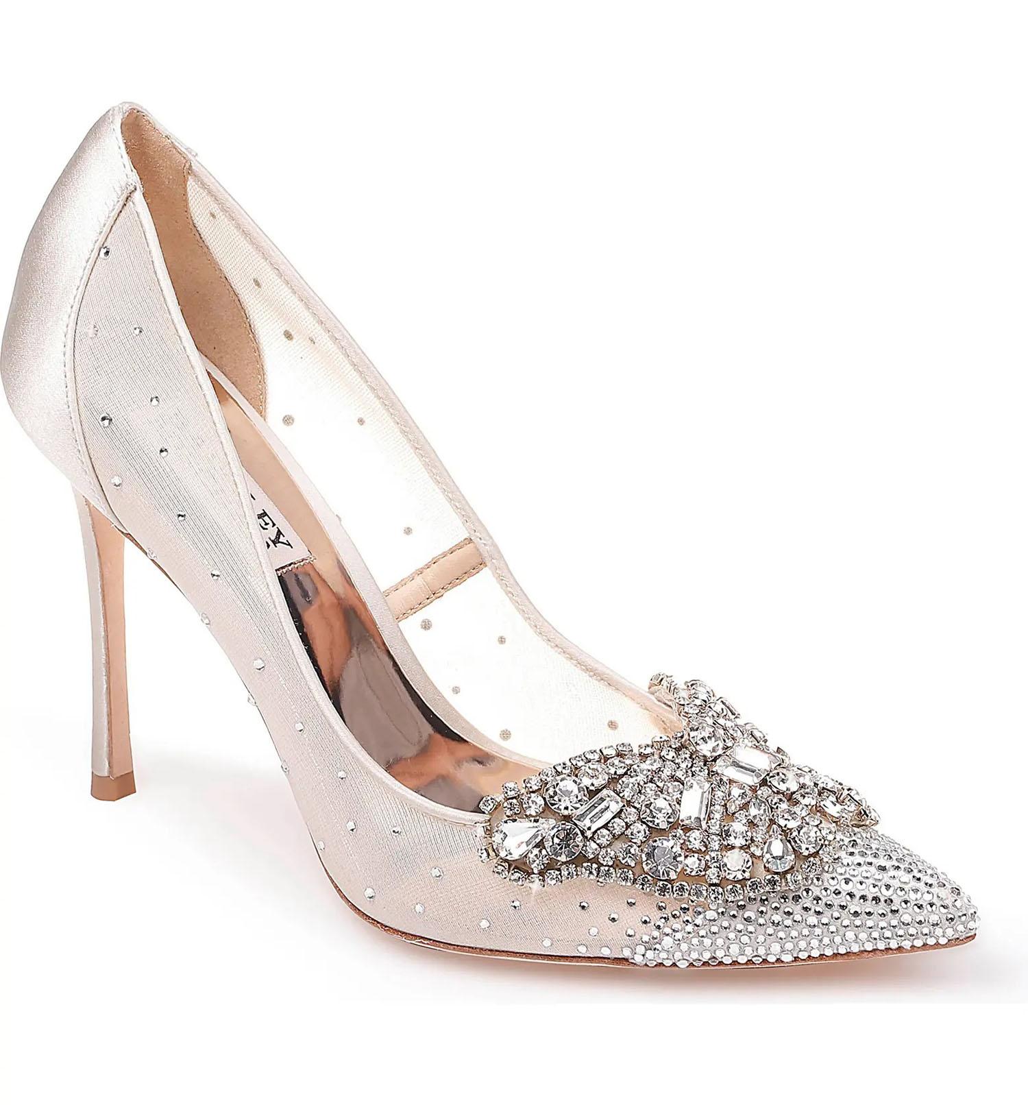 ivory satin and mesh embellished Badgley Mischka wedding shoes
