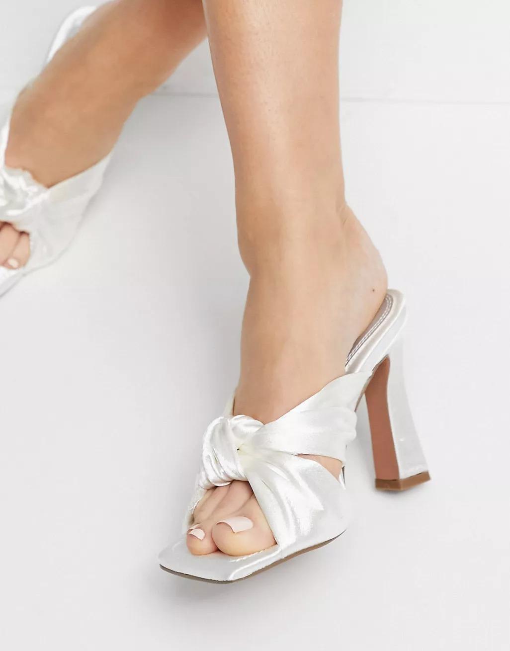 ivory satin twist mule style ASOS wedding shoes heels