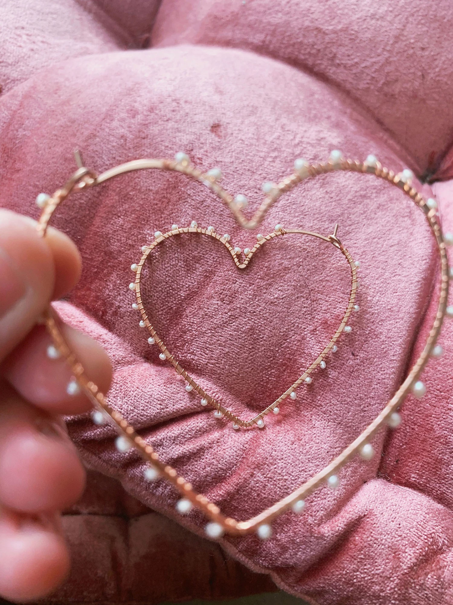 large rose gold heart shaped pearl earrings
