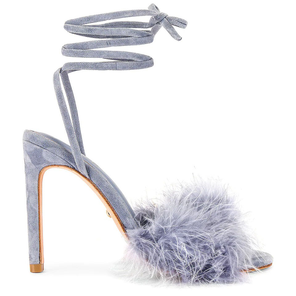 lavender suede and feather Revolve wedding heels