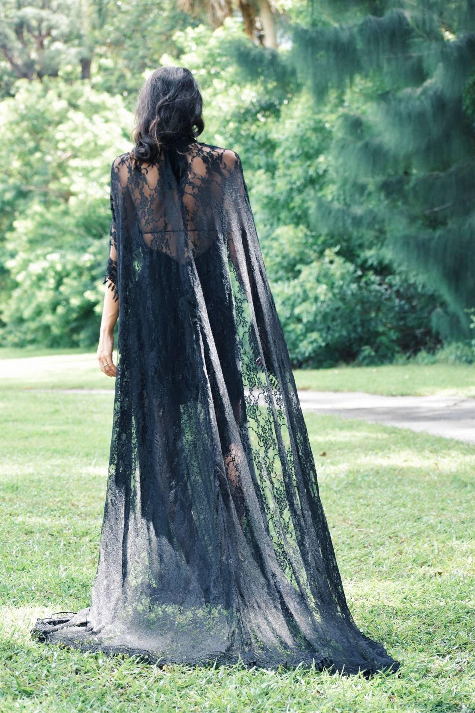 long black lace wedding cape