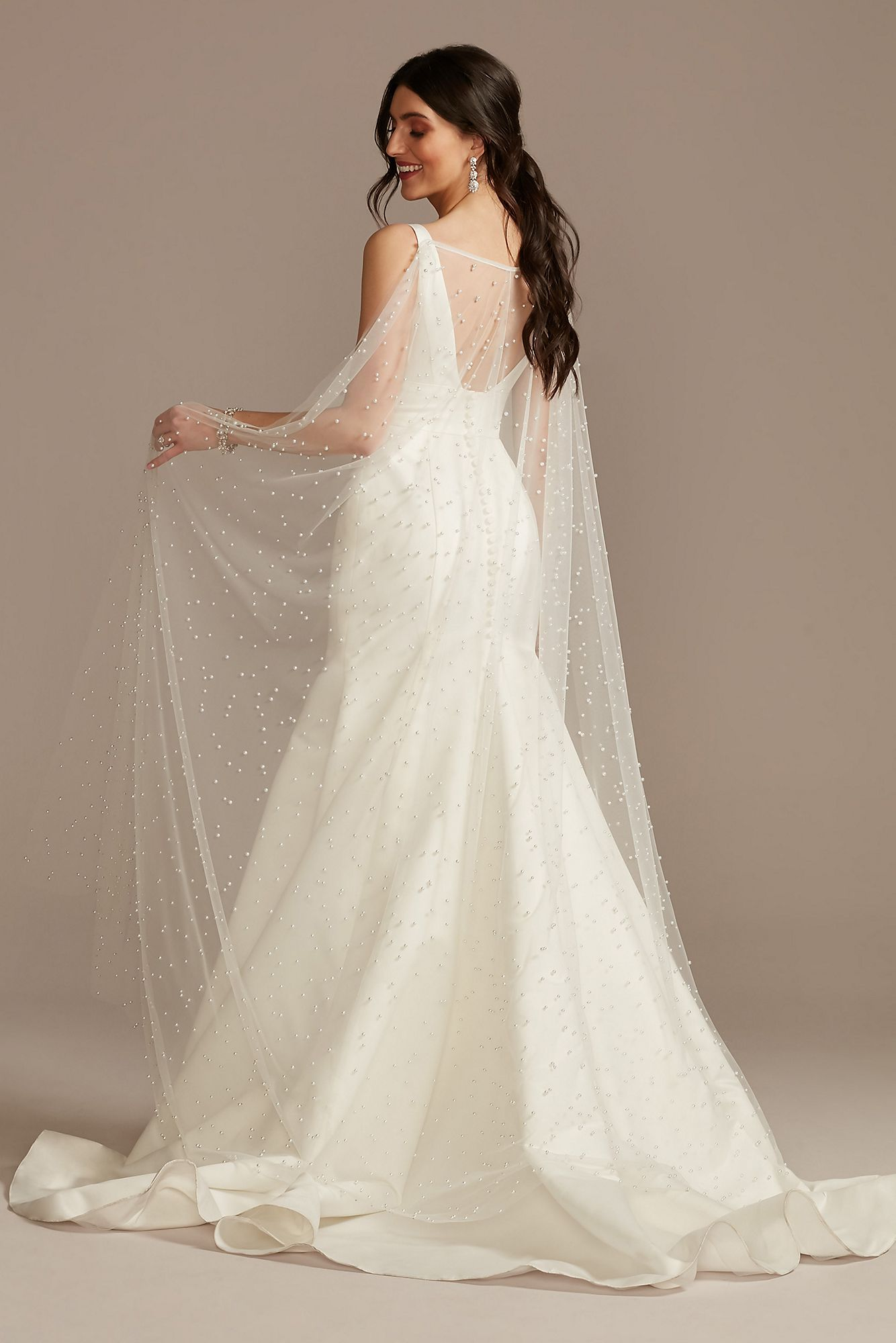 long bridal cape with pearls