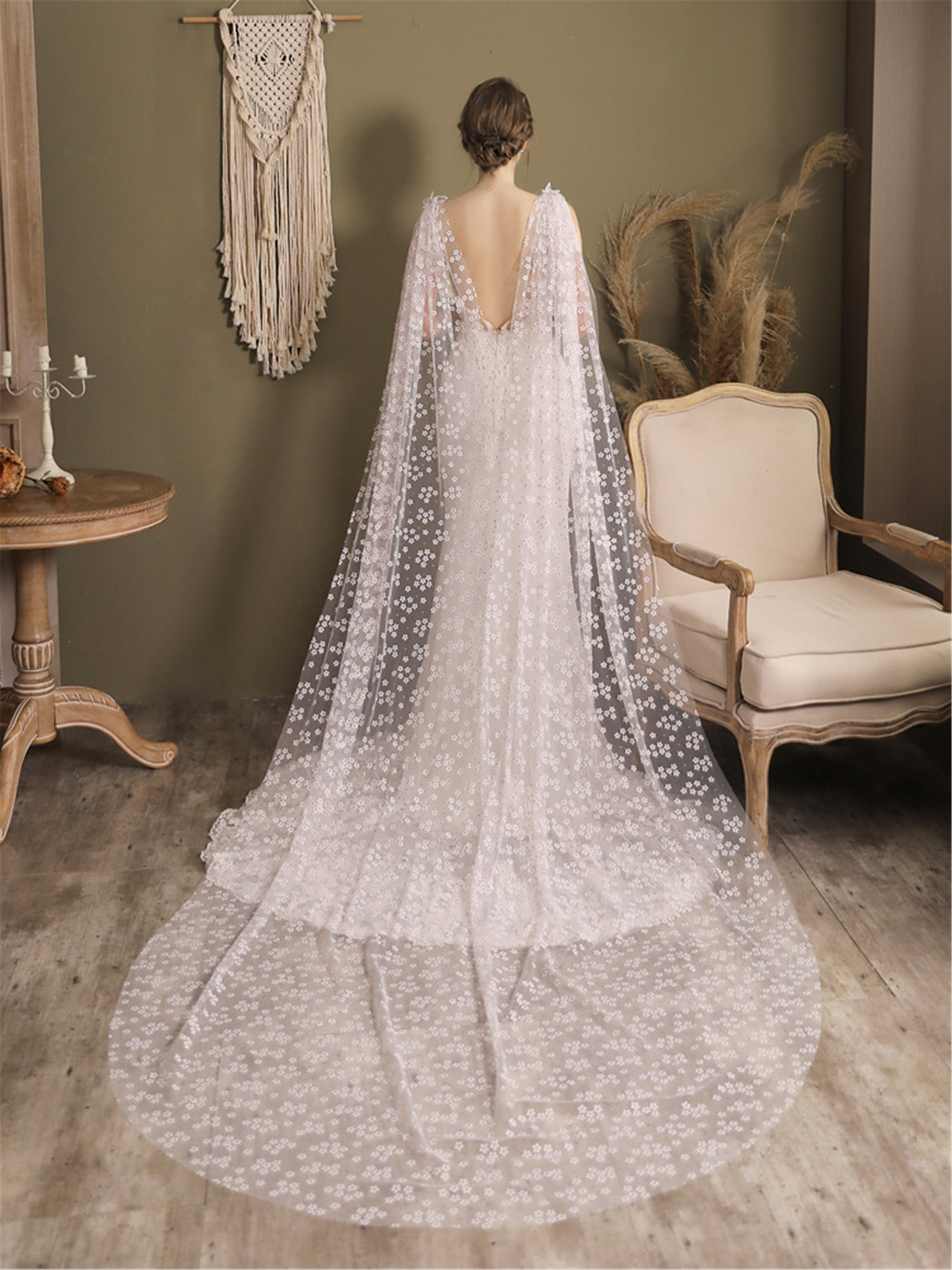 long cathedral lace bridal cape with small flowers