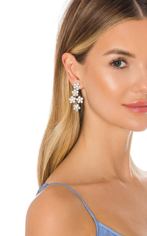 long floral Swarovski crystal and silver wedding earrings
