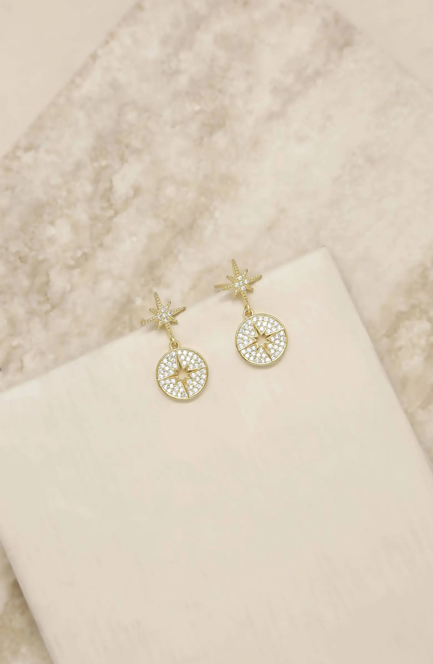 long gold and crystal double starburst earrings