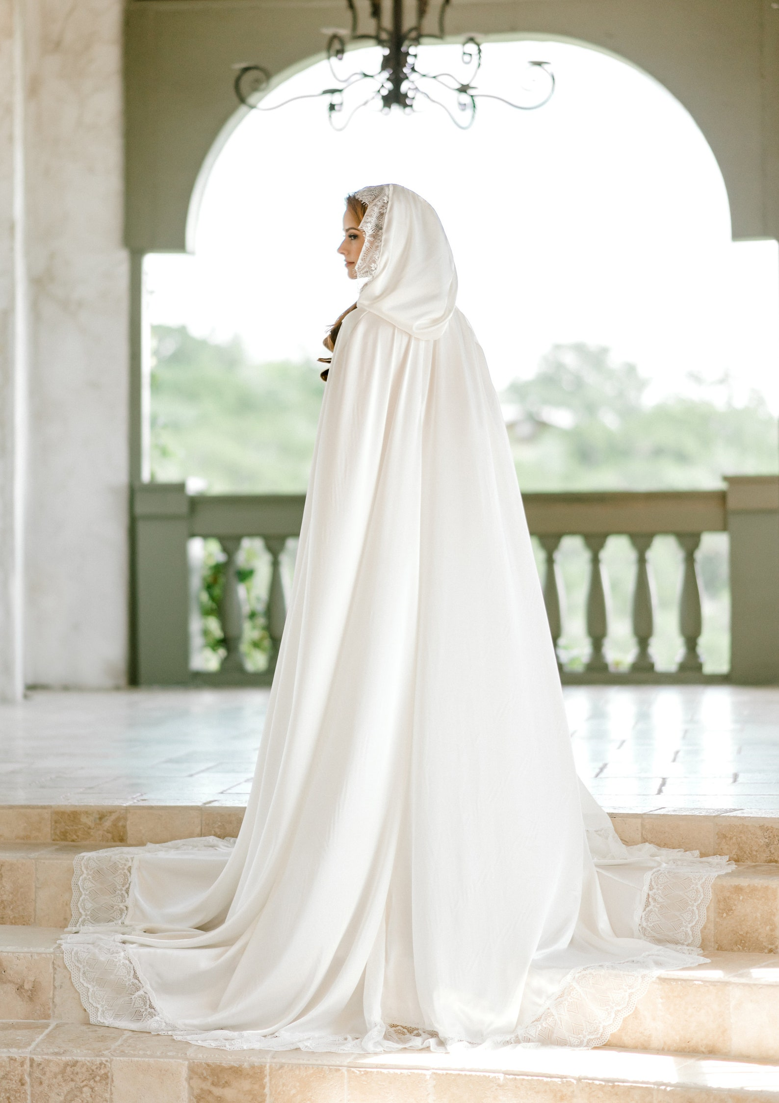 long satin winter bridal cape with hood