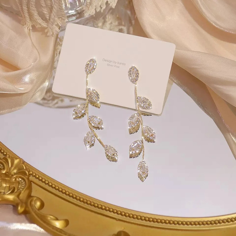 long wedding earrings with cubic zirconia leaves