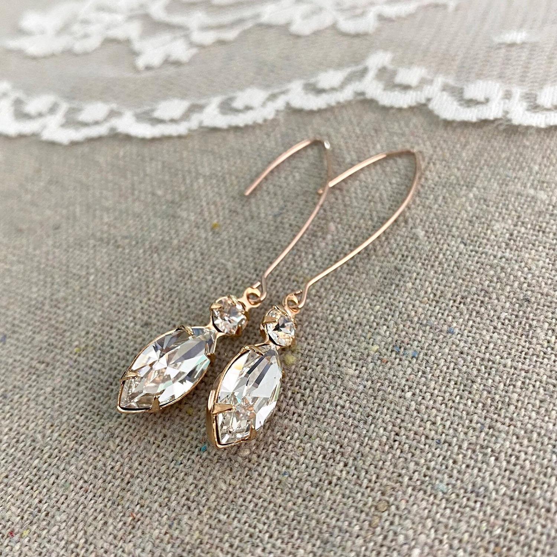 marquise cut crystal Swarovski wedding earrings