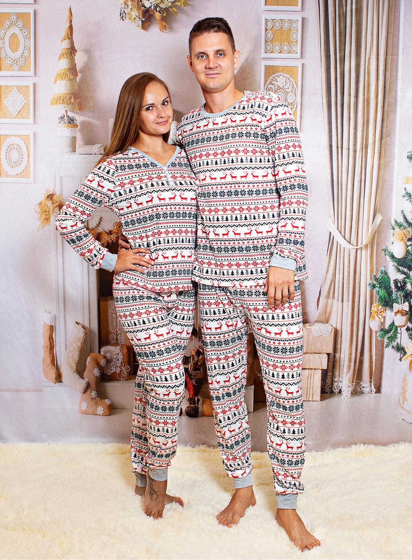 matching christmas pajamas couples deer print