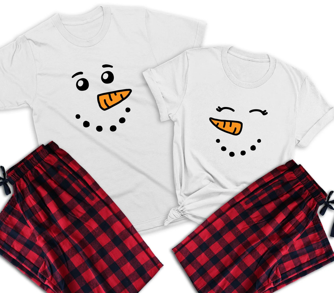 matching christmas pajamas for couples snowman face