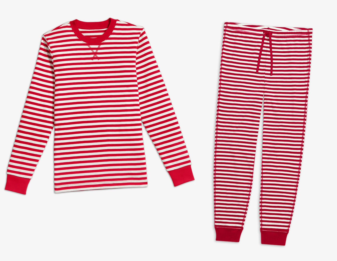 matching holiday pajamas couples red white stripes