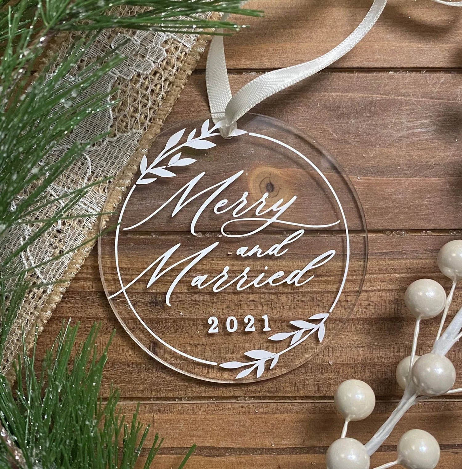 merry married calligraphy wedding ornament