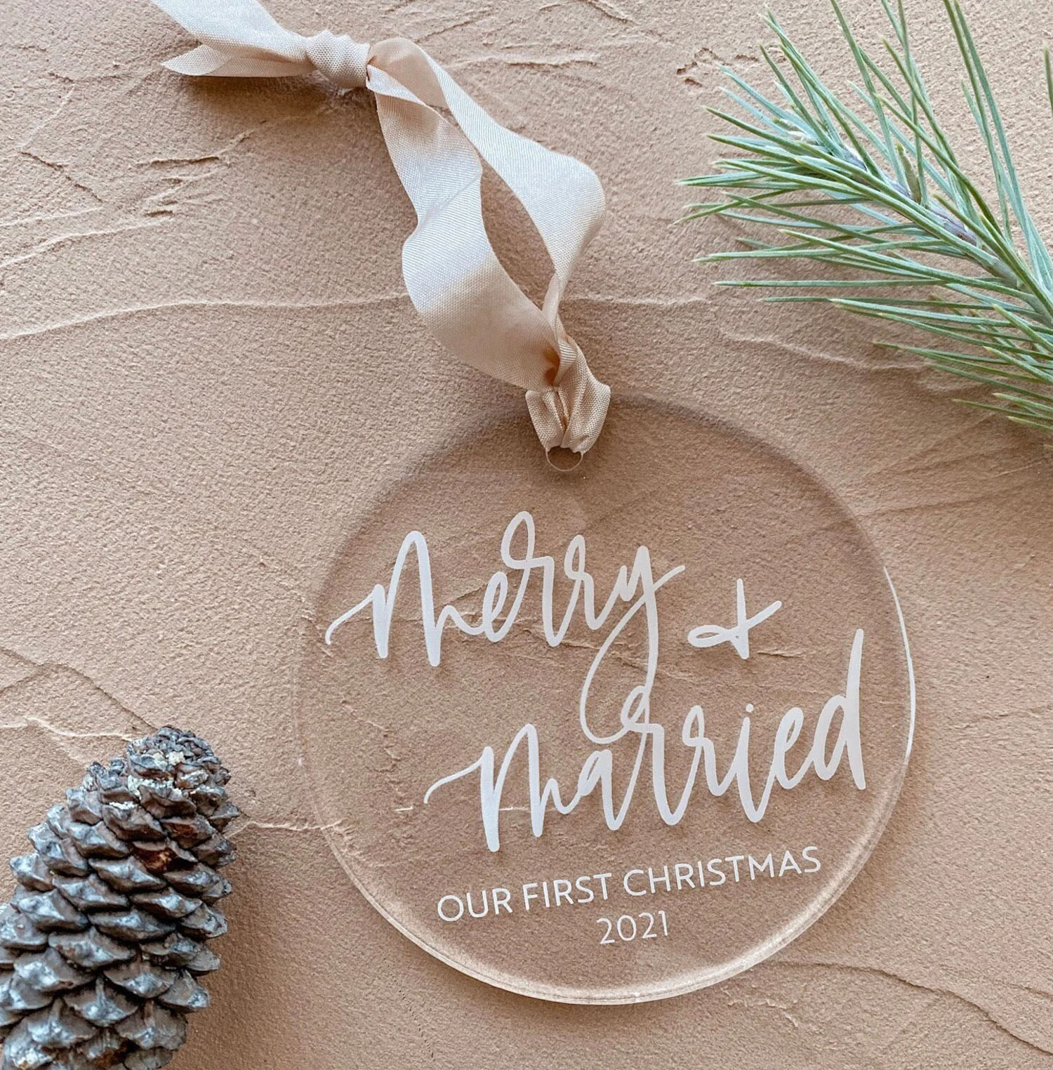 merry + married our first christmas ornament