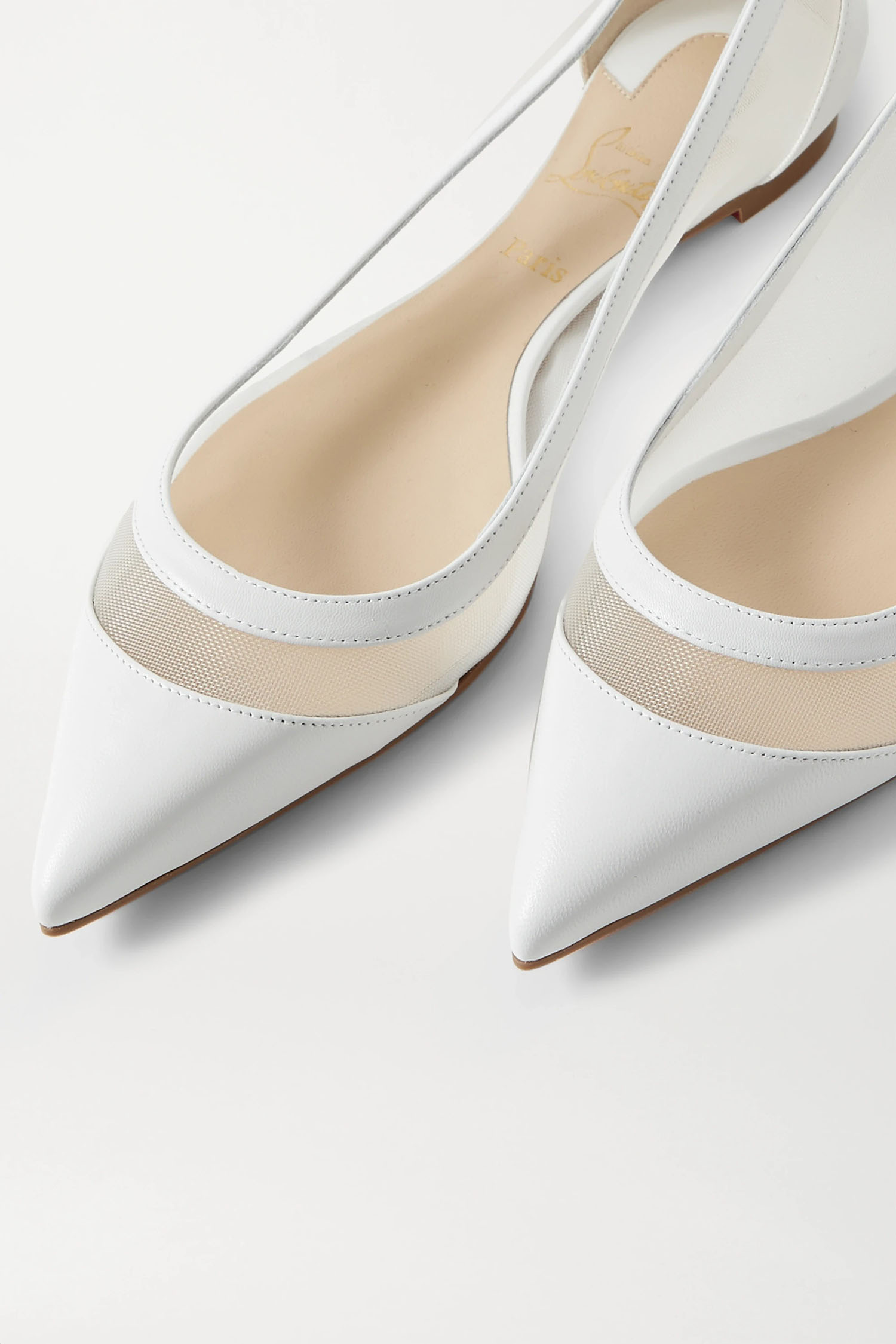 white leather and mesh point toe Christian Louboutin wedding flat shoes from NET-A-PORTER