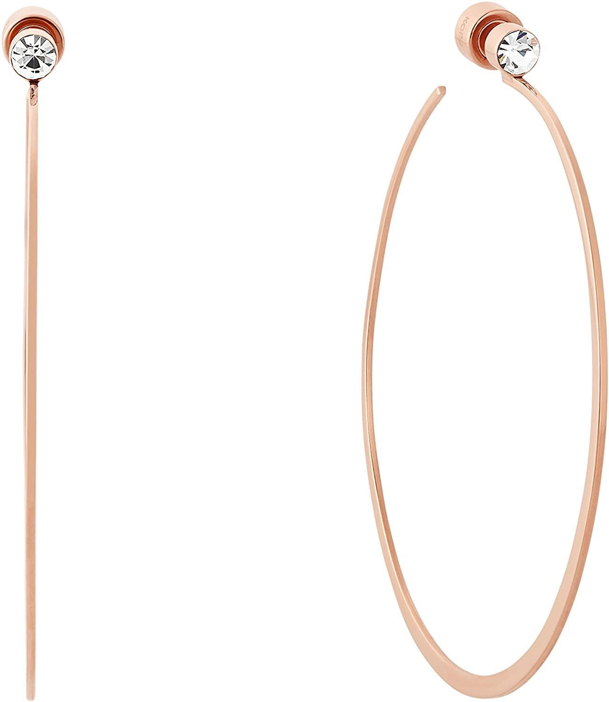 minimalist Michael Kors rose gold hoop earrings