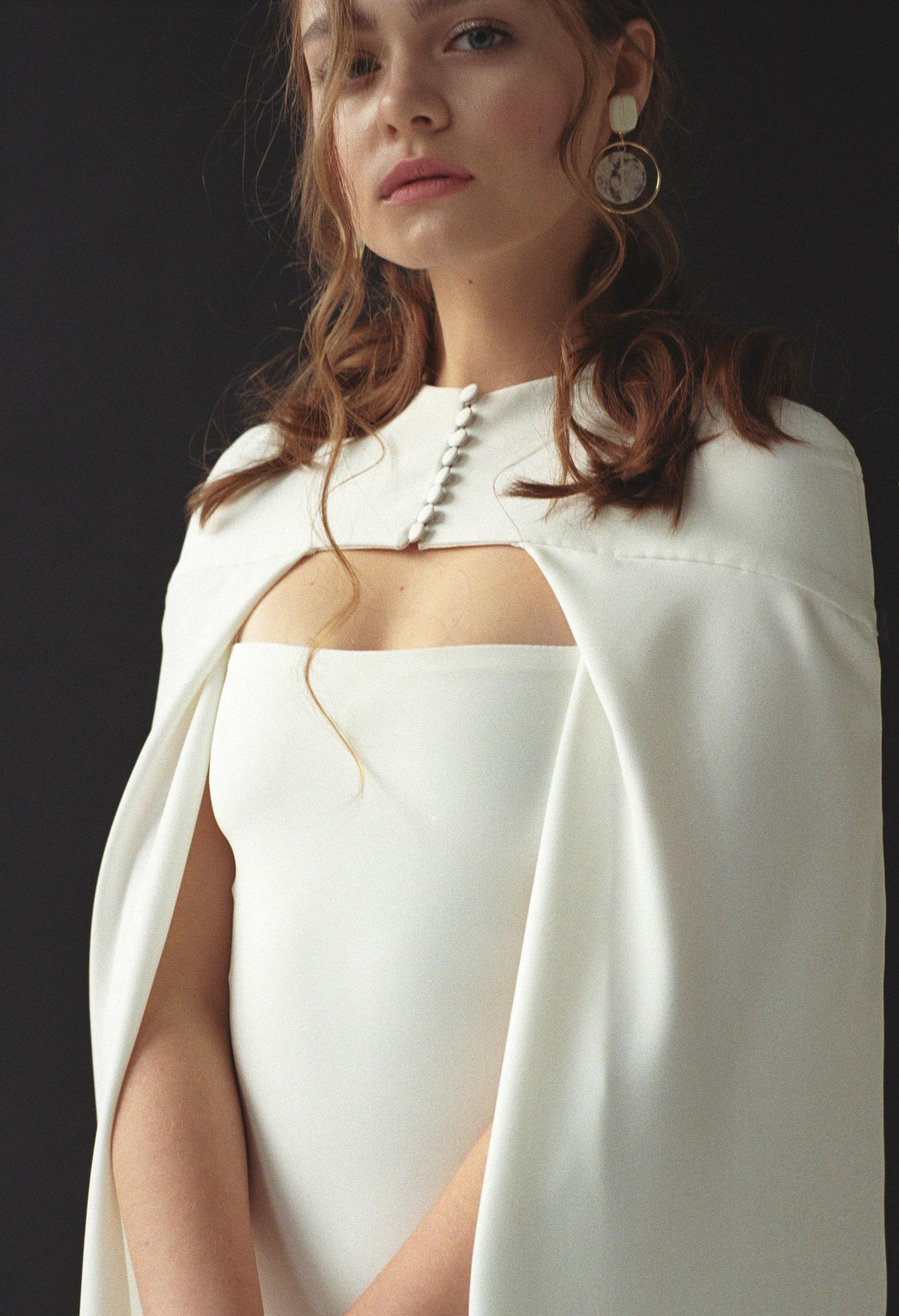 modern minimalist crepe winter bridal cape