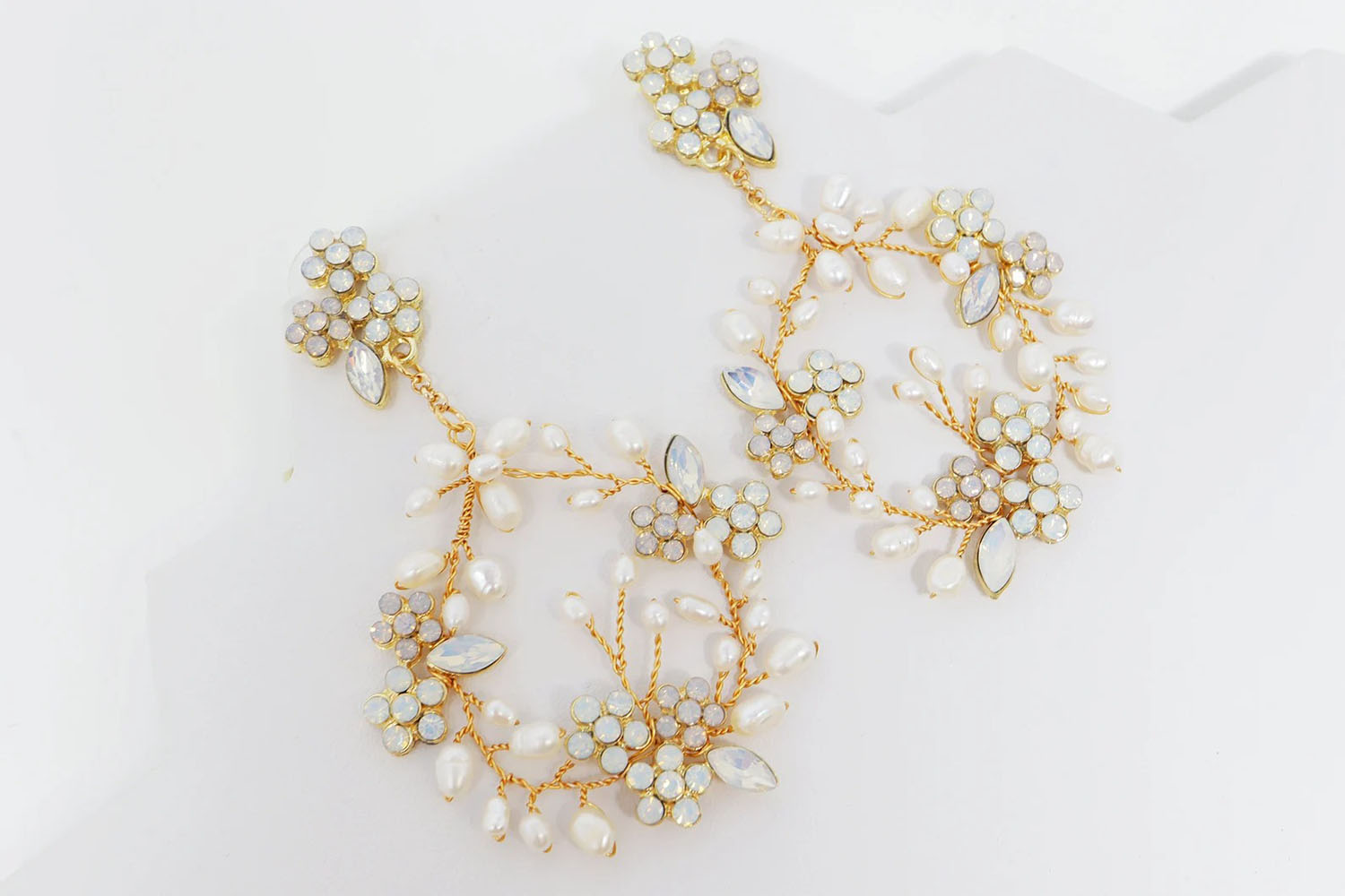 opal and freshwater pearl 18K gold plated long crystal Swarovski earrings