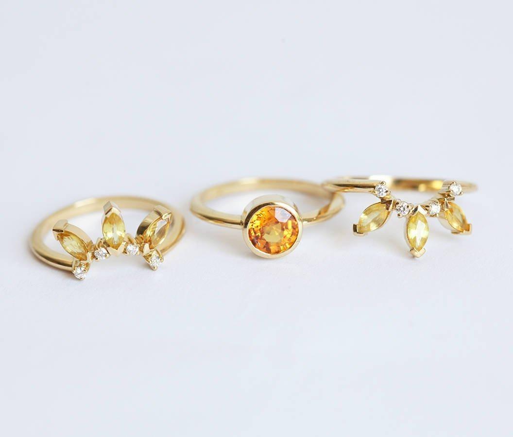 yellow sapphire rings set