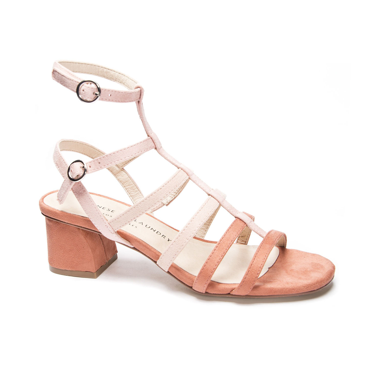peach caged Chinese Laundry wedding sandals
