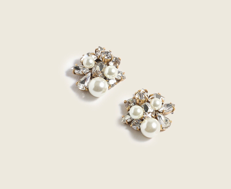 pearl and crystal wedding stud earrings