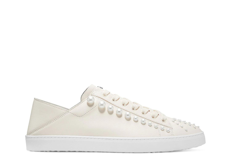 Stuart Weitzman pearl embellished wedding sneakers
