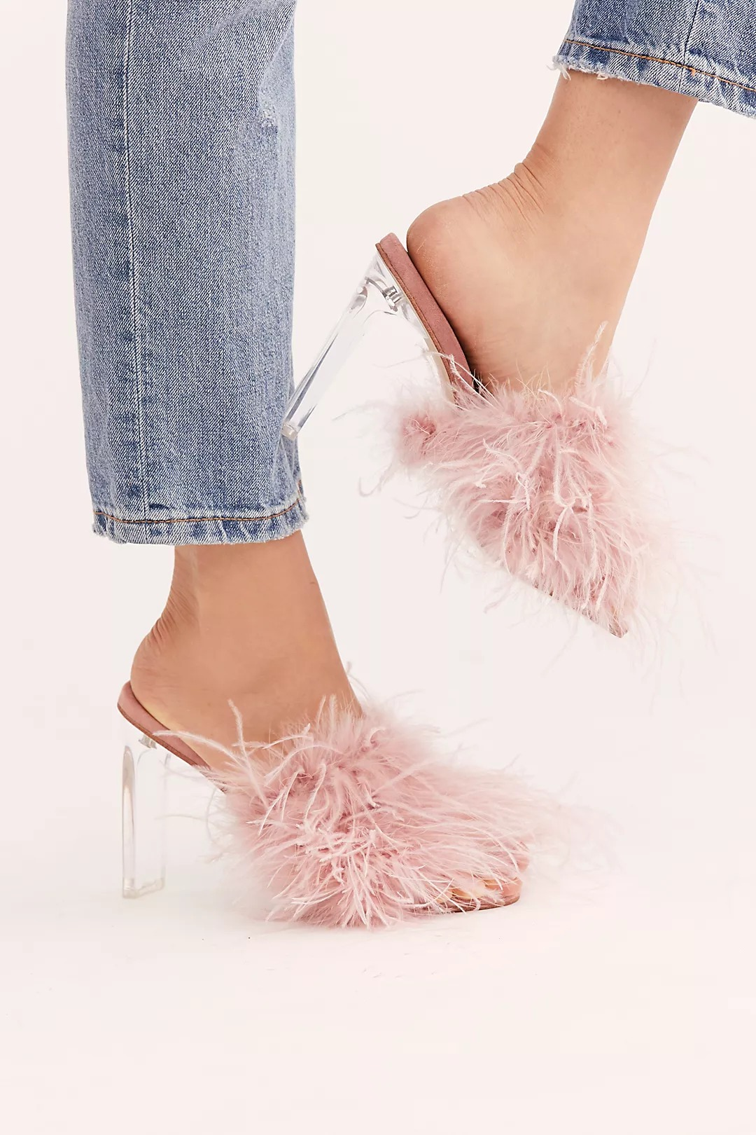 pink feather Jeffrey Campbell Free People heels wedding shoes