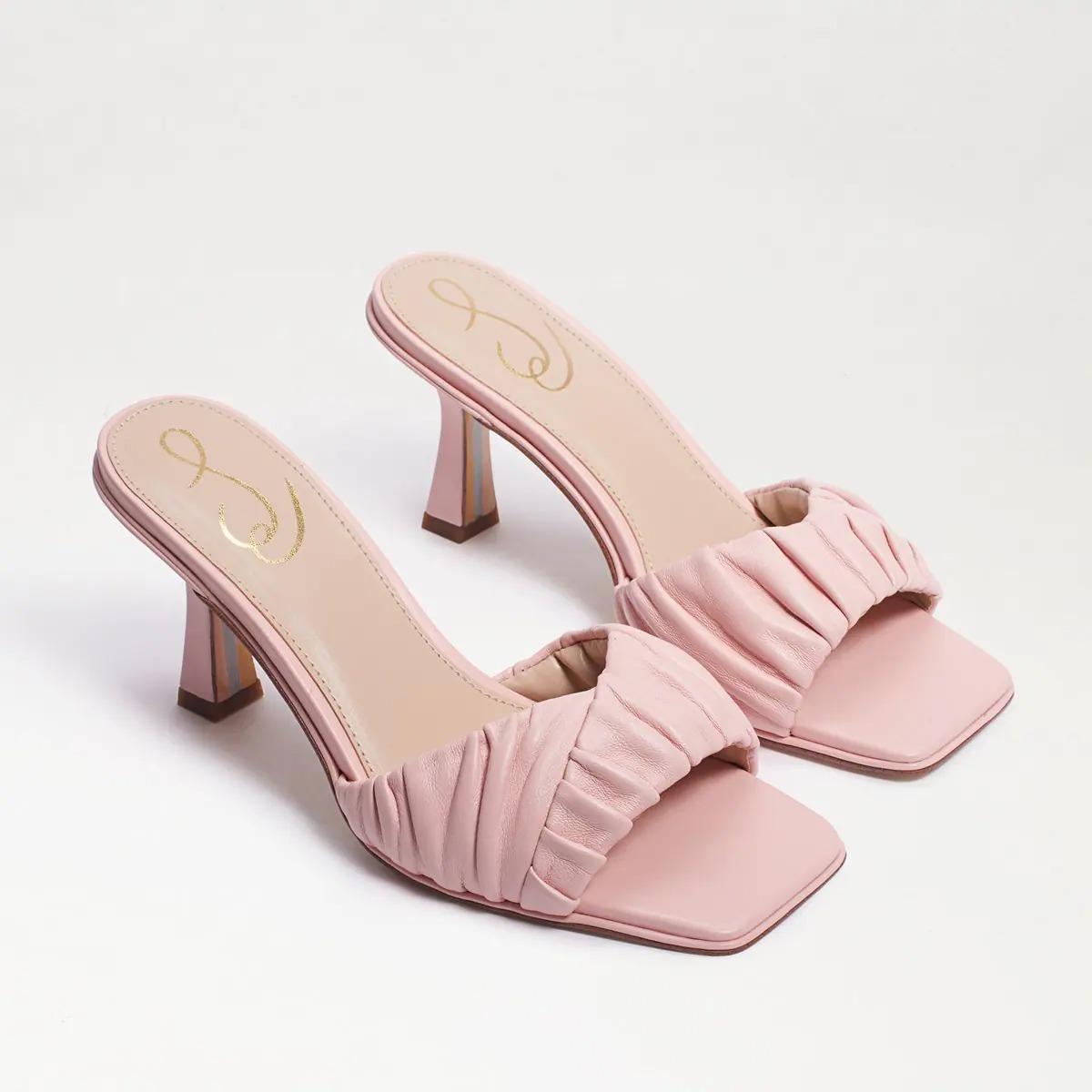 pink leather slide-on Sam Edelman heeled wedding sandals