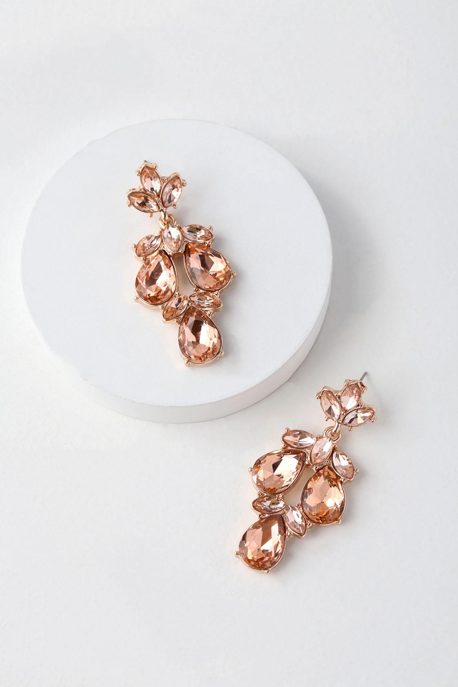 long pink rhinestone rose gold wedding earrings