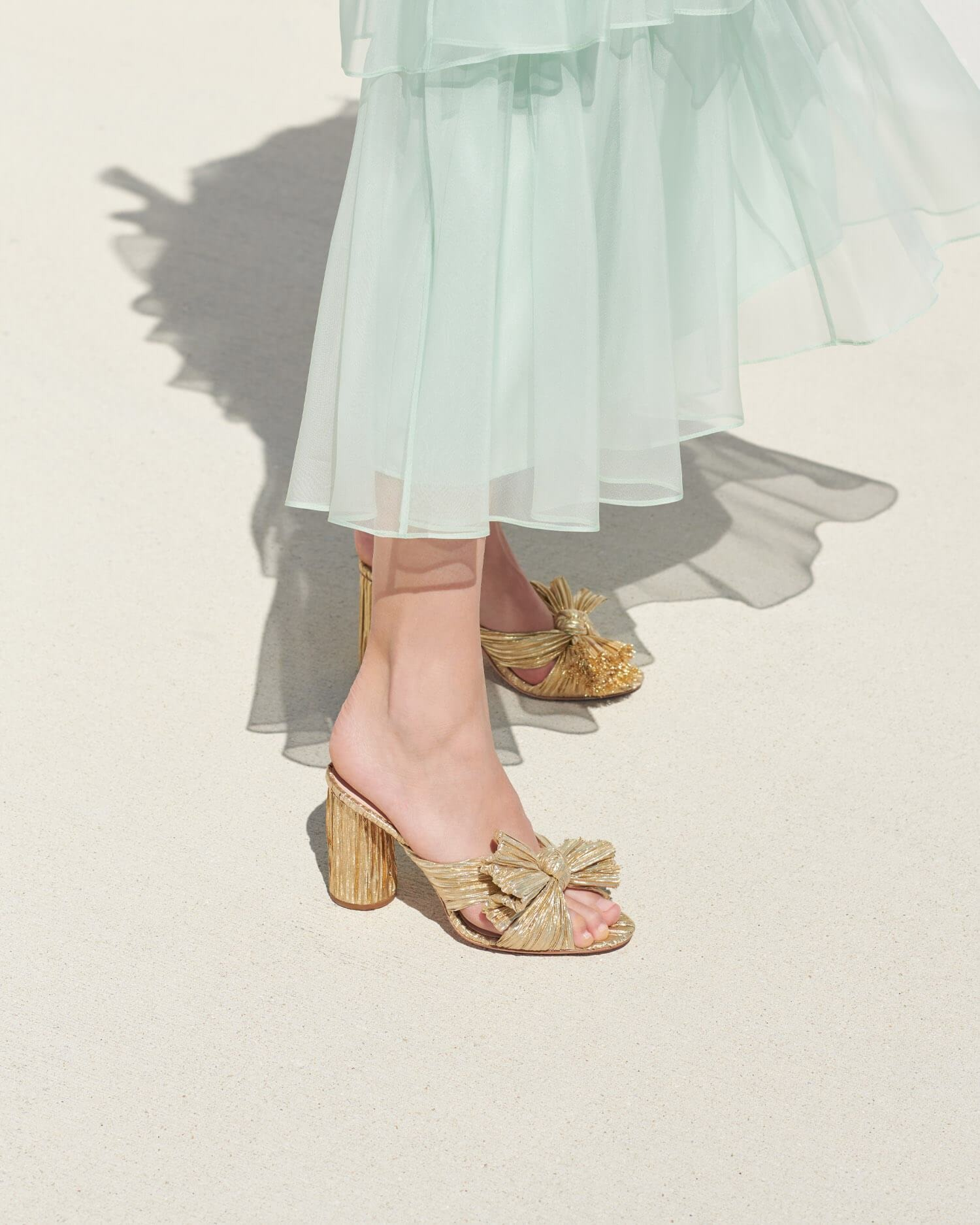 pleated metallic gold slide-on Loeffler Randall wedding shoes heels